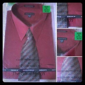NWT Knightsbridge Berry Red Shirt & Tie Combo